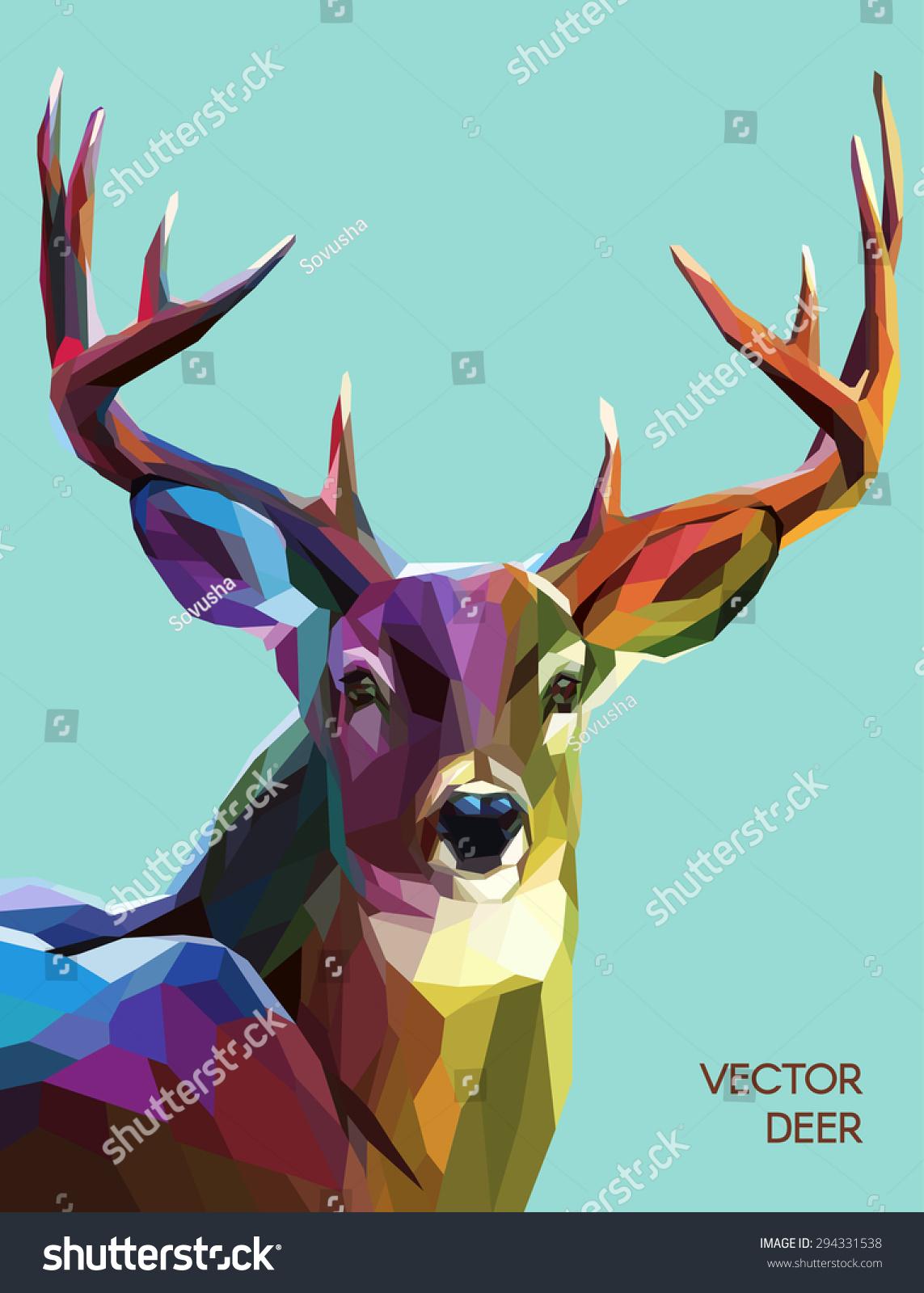 colorful deer illustration background wild animal stock