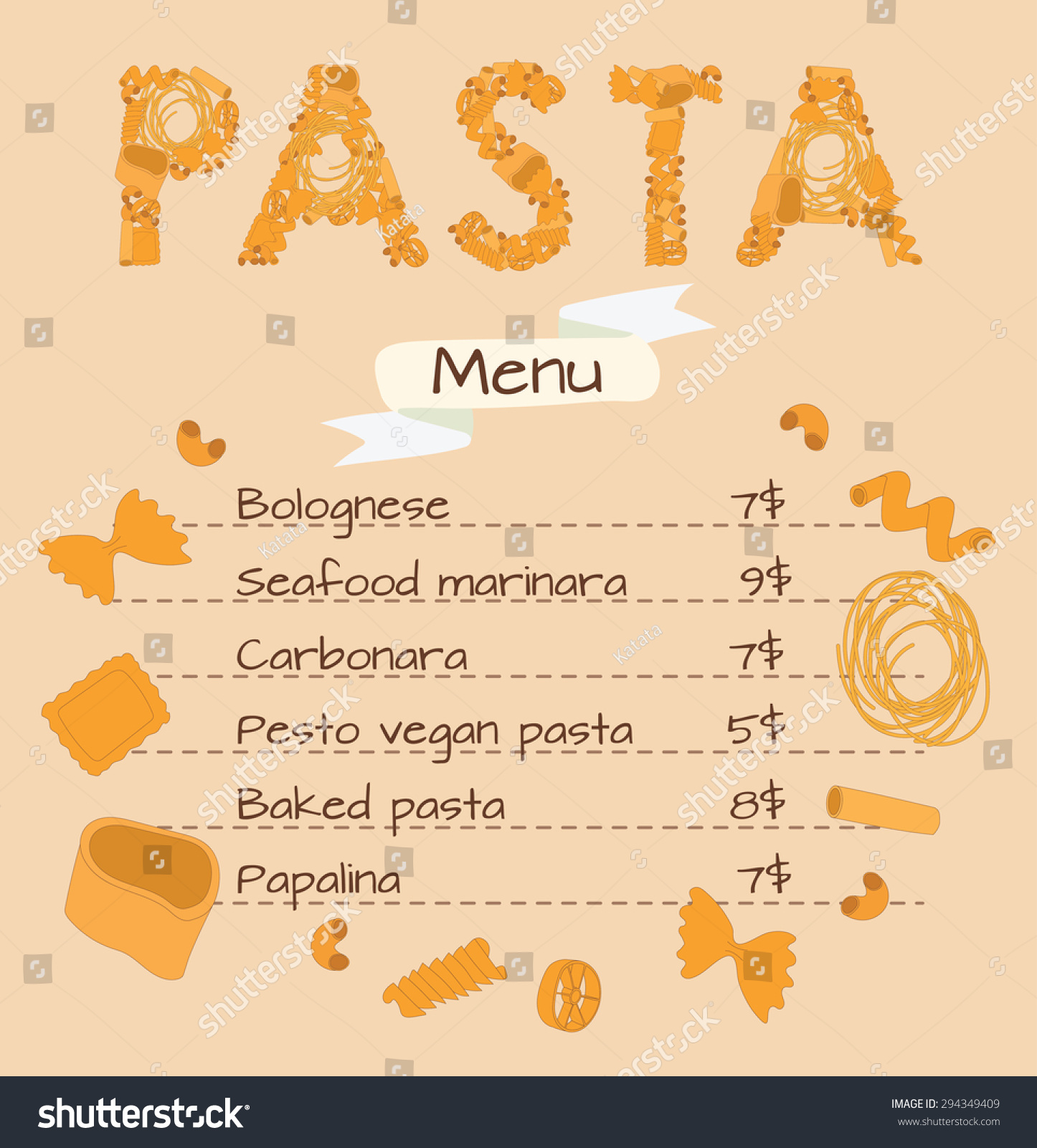 Template Menu Pasta Word Pasta Lined Stock Vector 294349409 ...