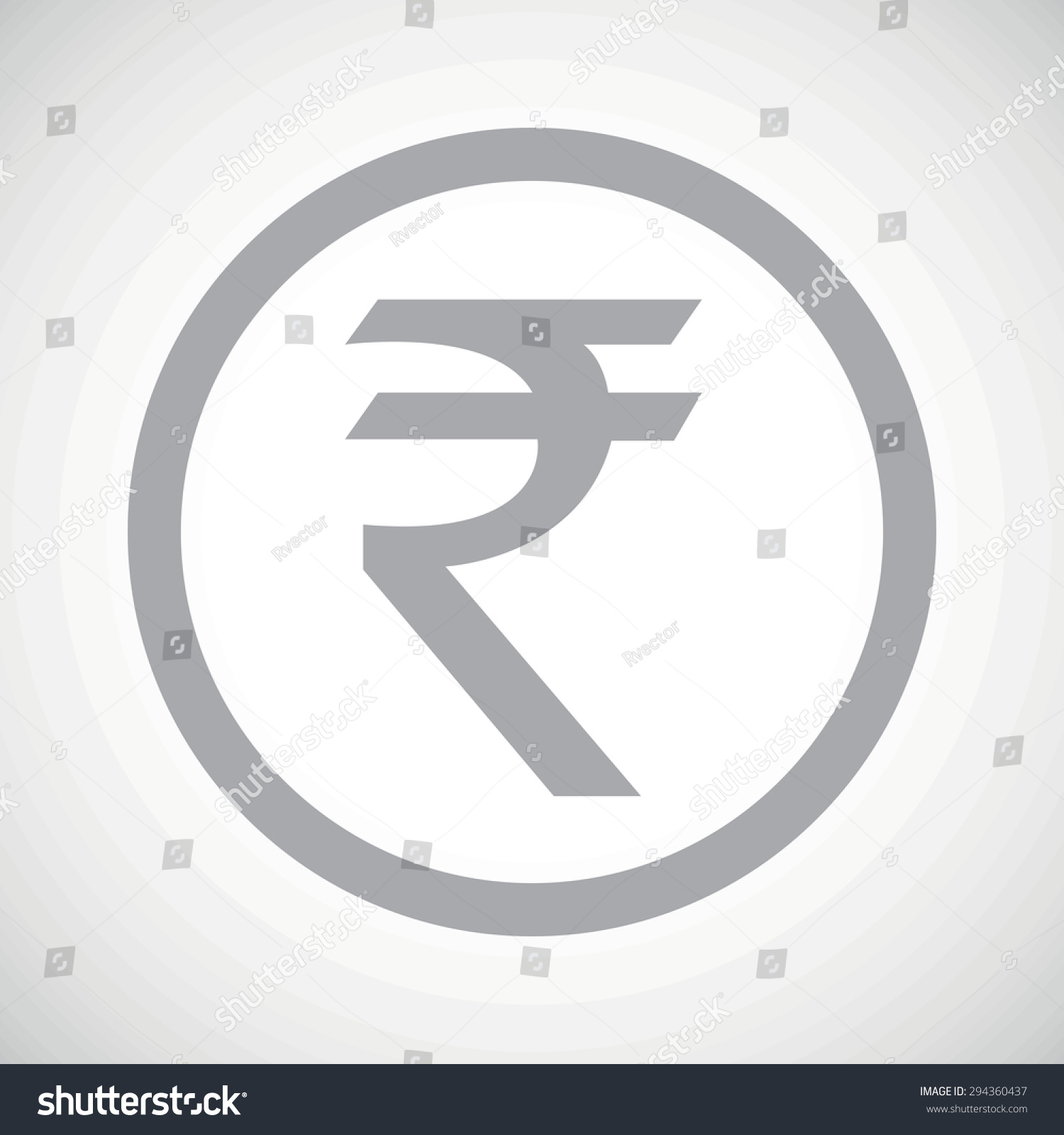 Grey Indian Rupee Symbol Circle On Stock Illustration 294360437