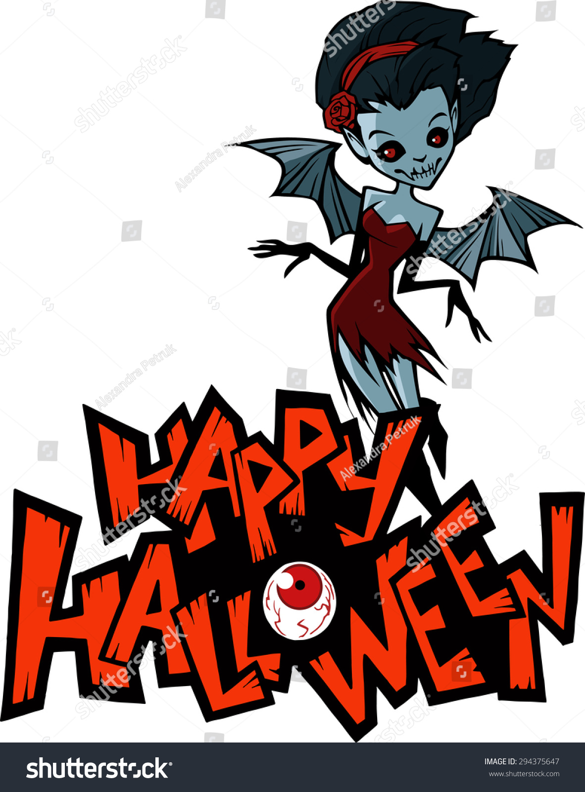 Halloween Cartoon Illustration Of A Vampire Lady With Bat Wings