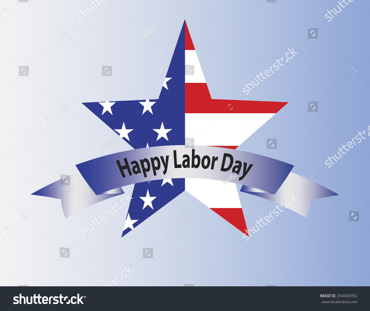 star shape usa flag inside happy labor day text on ribbon save to a lightbox