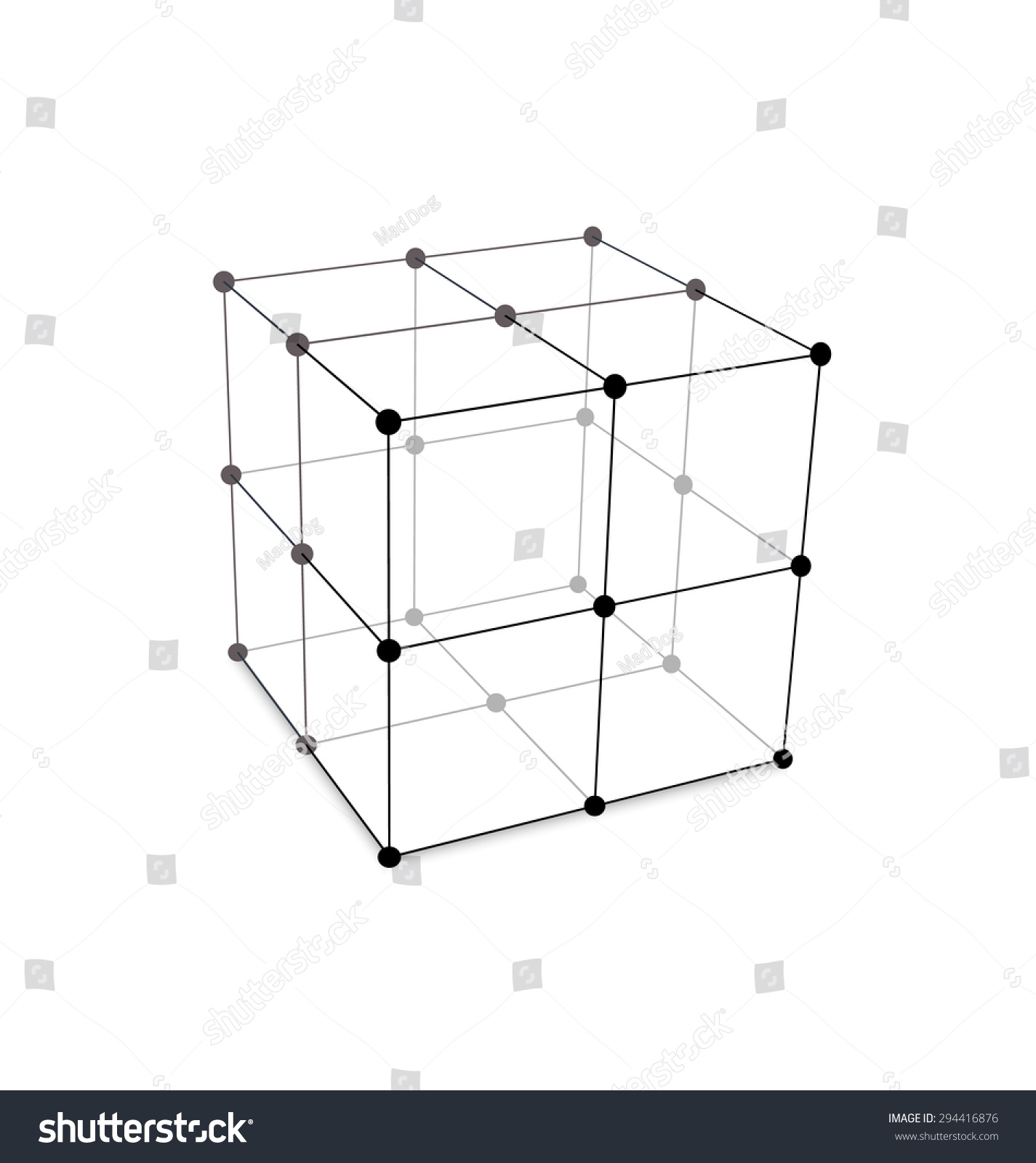 Illustration Cube Made Mesh Polygonal Element Stock Vector Royalty Mad Dog Wiring Diagram Is Connected Lines And Dots