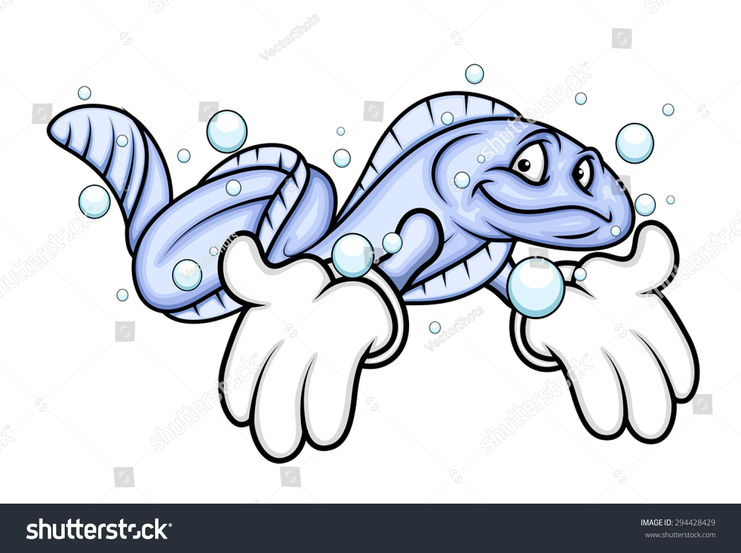 cartoon eel fish showing hands stock vector 294428429 shutterstock