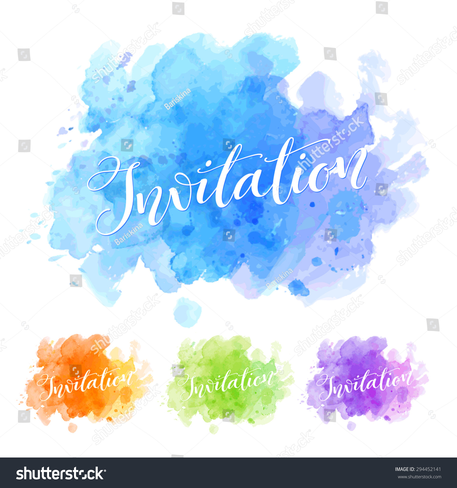 Vector calligraphy on watercolor stain background