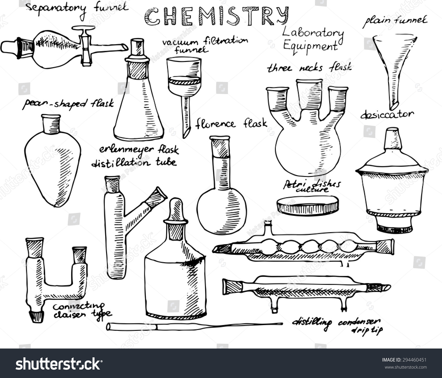 set of hand drawn science chemical equipment  chemistry education    save to a lightbox