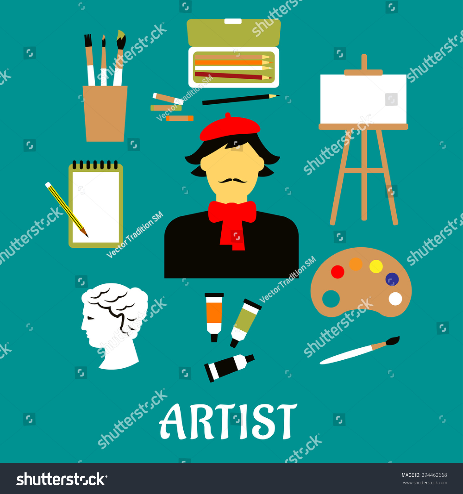 Artist In French artist profession flat concept craftsman french stock  vector