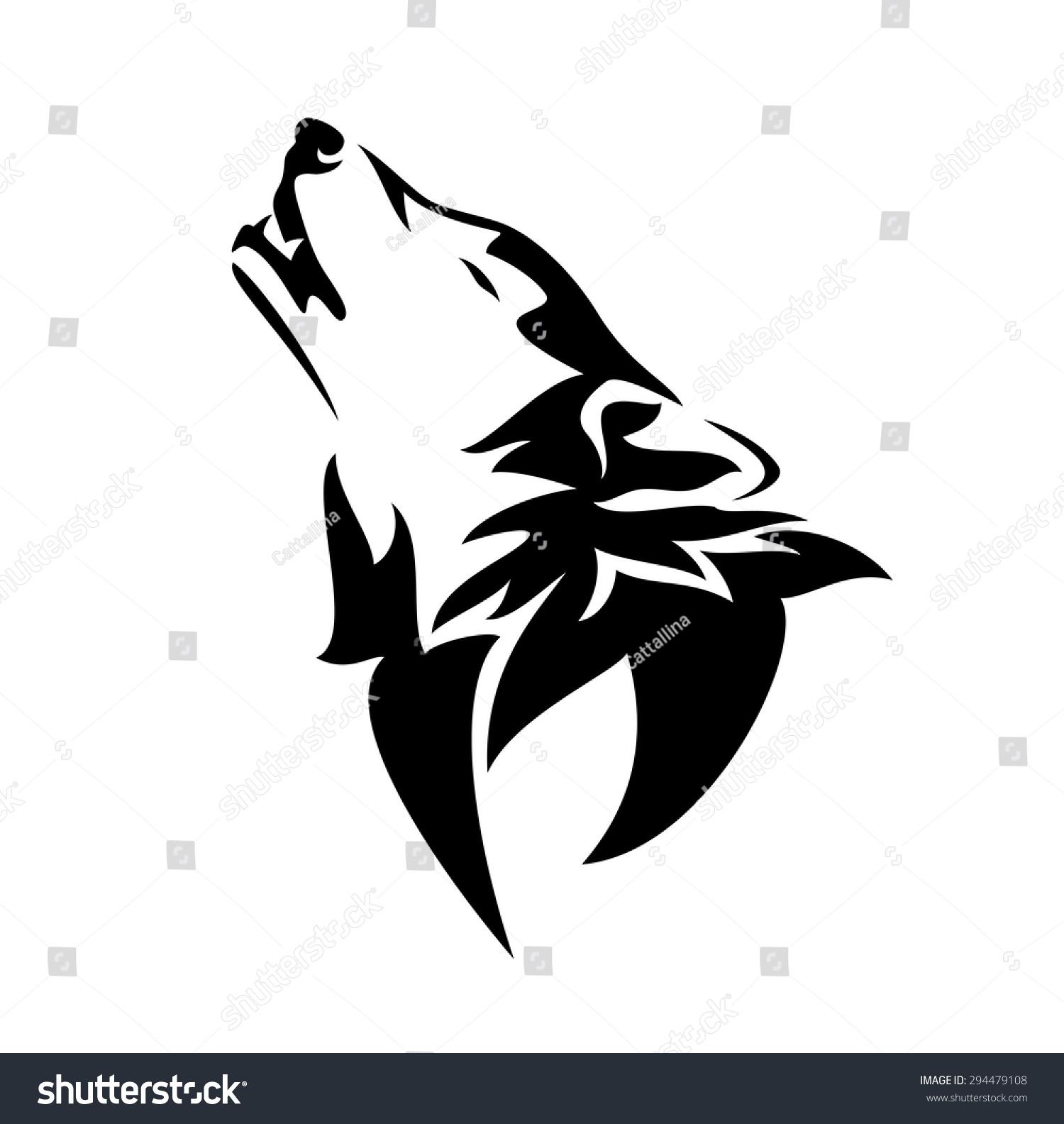 Howling Wolf Design Black White Animal Stock Vector ...