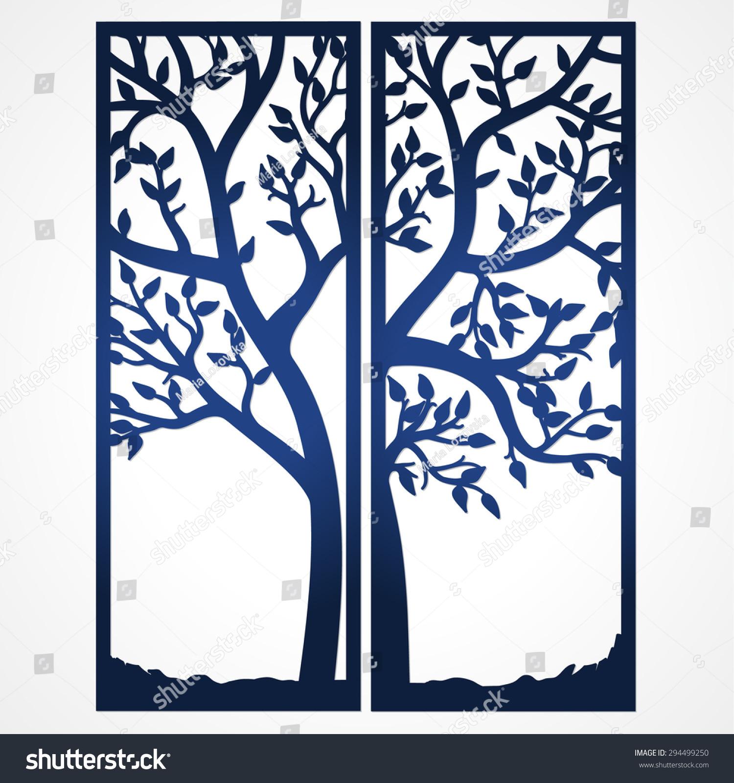 Two Fold Wedding Invitation Template Tree Stock Vector 294499250 ...