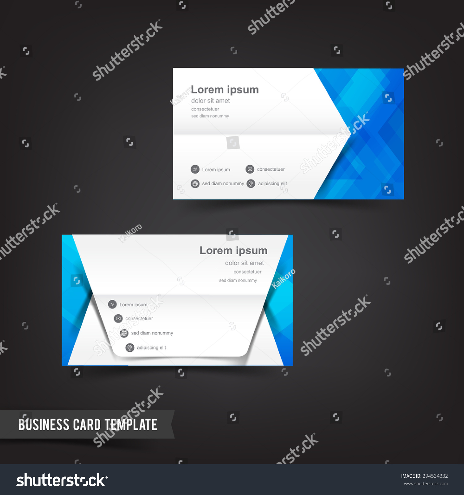 business card template blue white geometry stock vector