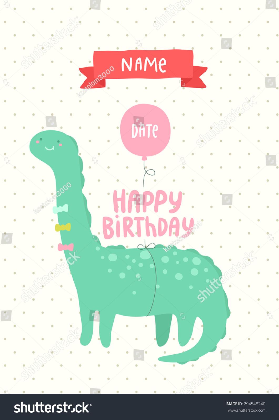 Happy Birthday Invitation Postcard Cute Dinosaur Stock Vector ...