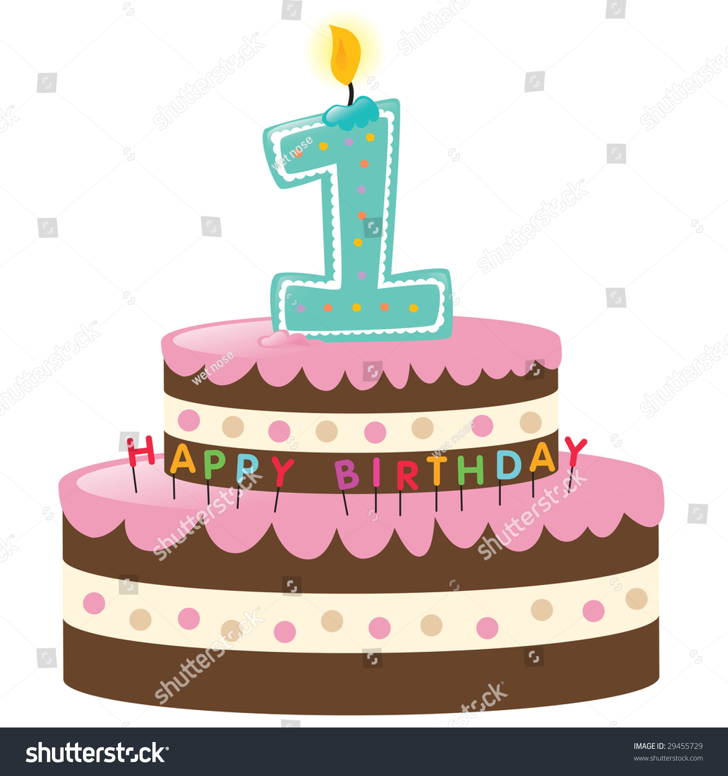 Birthday Cake Vector Art : Happy First Birthday Cake With Lit Candle Stock Vector ...