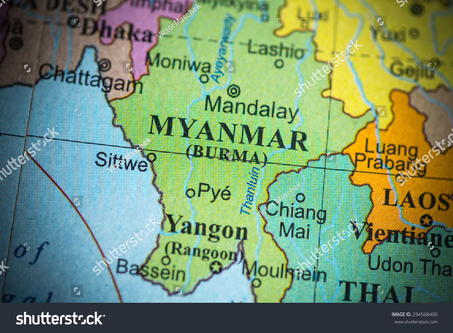 Map Of Spain Portugal%0A Map view of Myanmar on a geographical globe   vignette