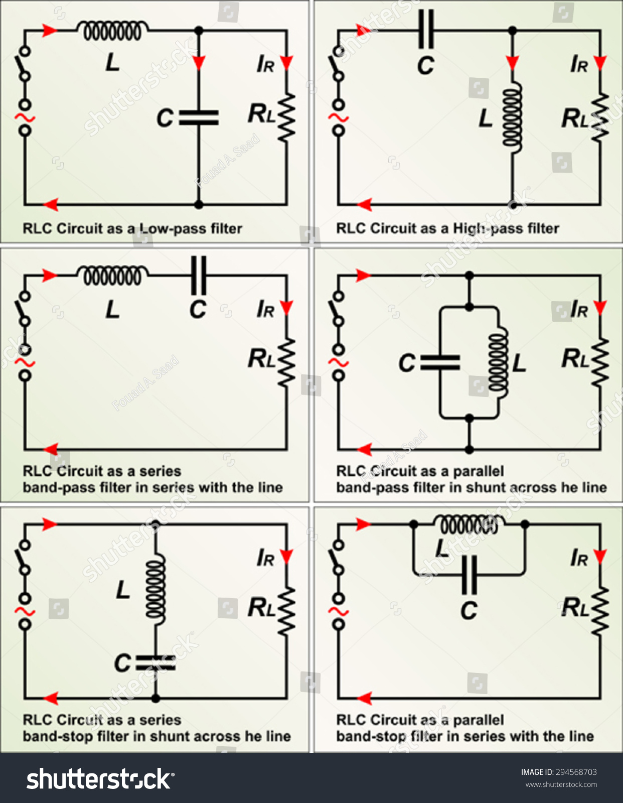 Rlc Circuit Filters Stock Vector Royalty Free 294568703 Shutterstock Filter Diagram