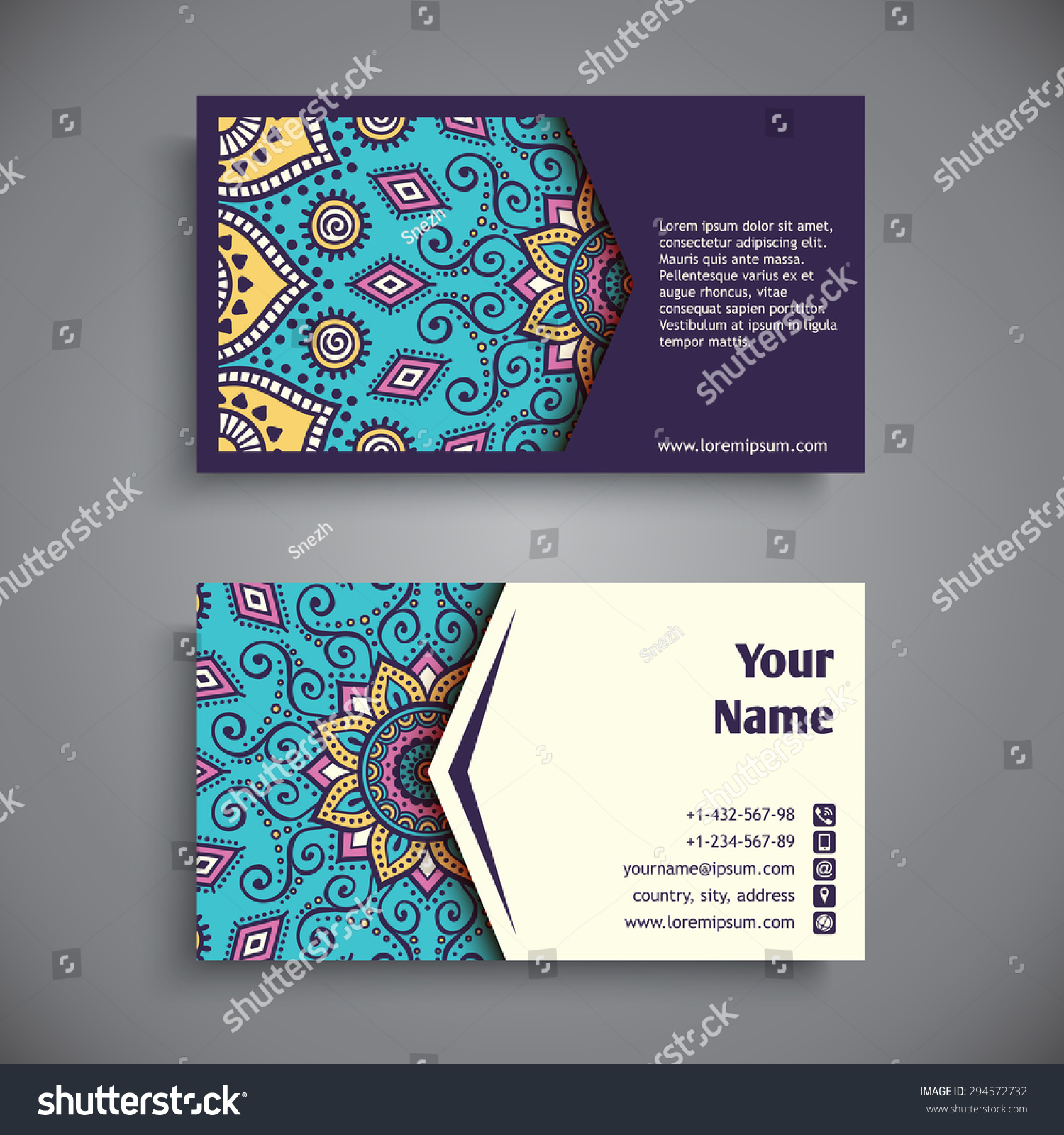 Business card vintage decorative elements ornamental em vetor stock business card vintage decorative elements ornamental floral business cards oriental pattern vector reheart Gallery