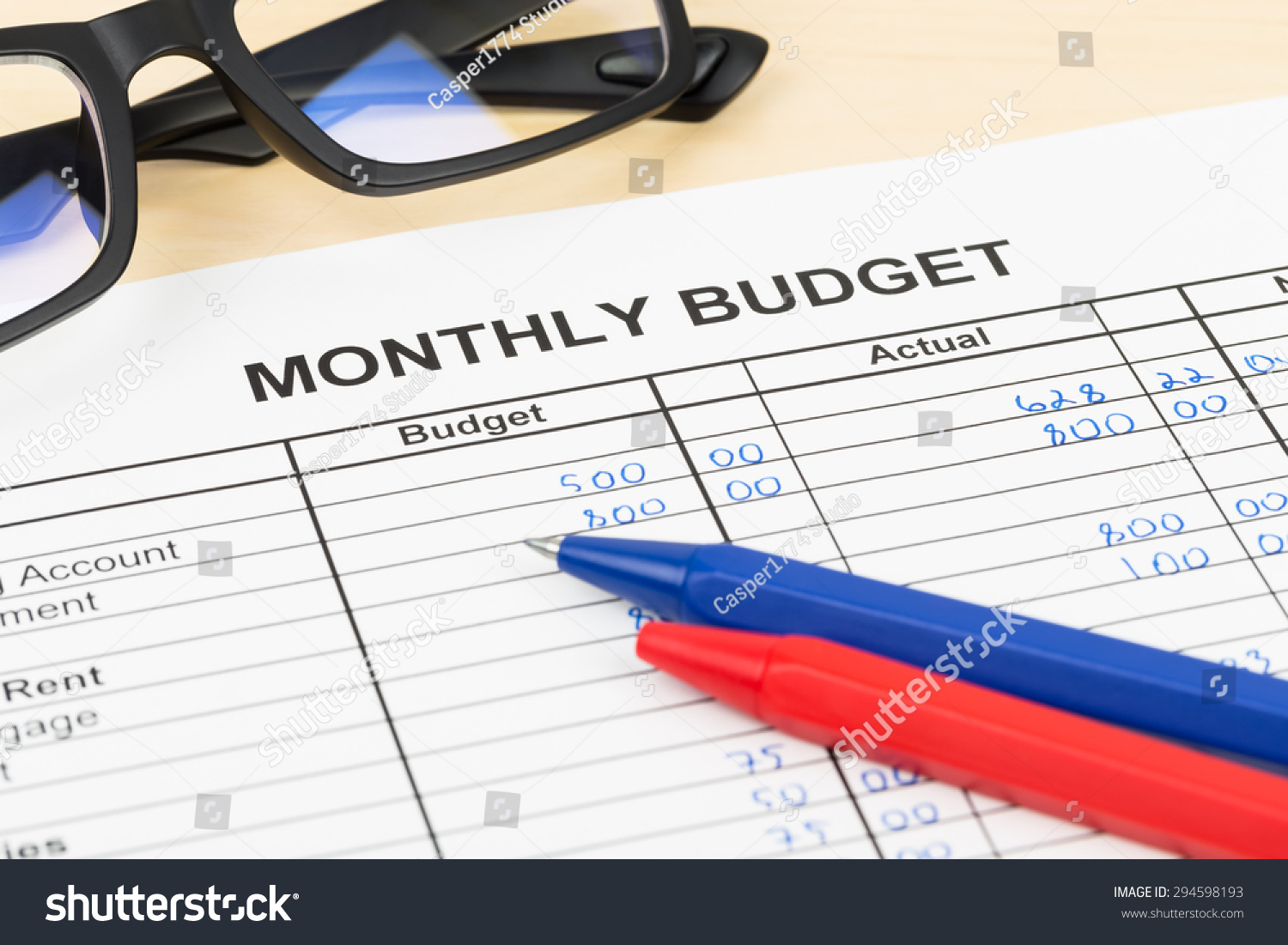 Home Budget Planning Sheet Pen Glasses Stock Photo (Royalty Free ...