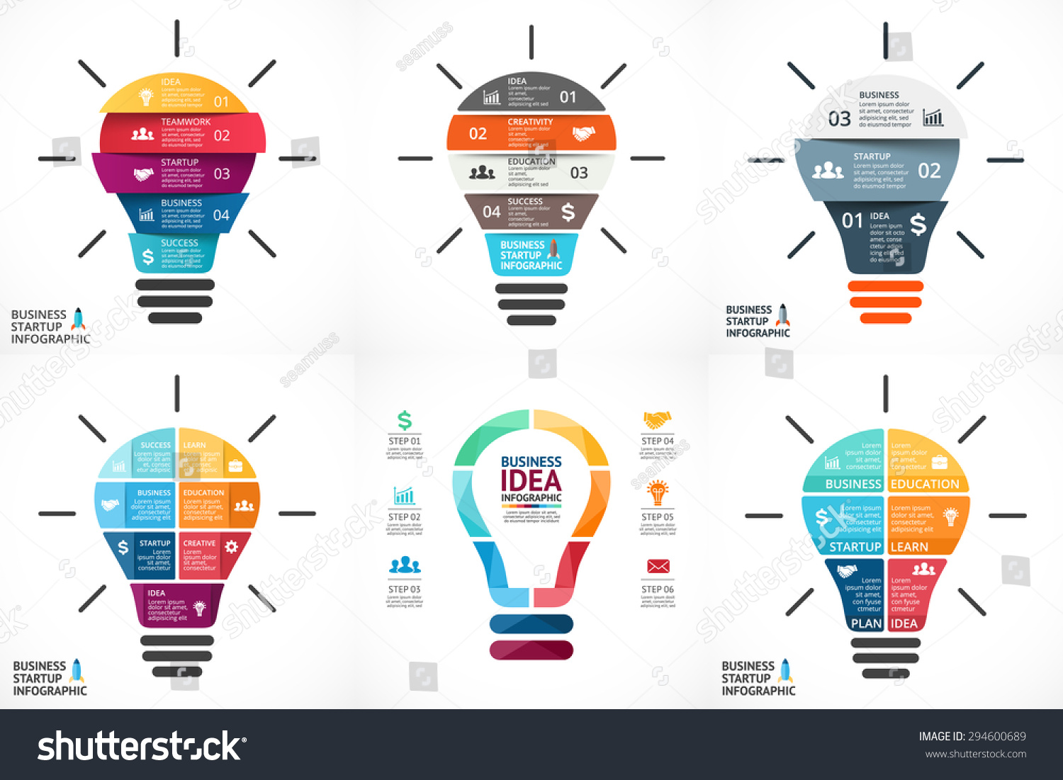 Vector light bulb infographic. Template for growth diagram, graph ...