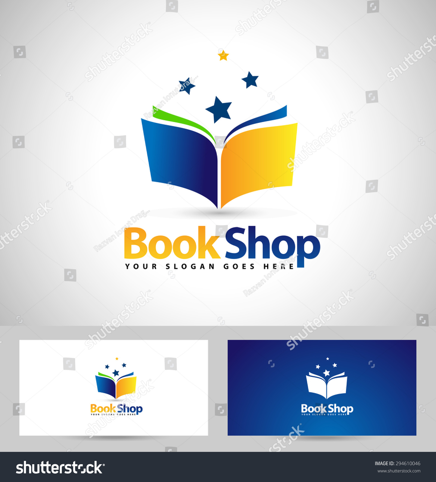 book shop logo design creative book stock vector 294610046