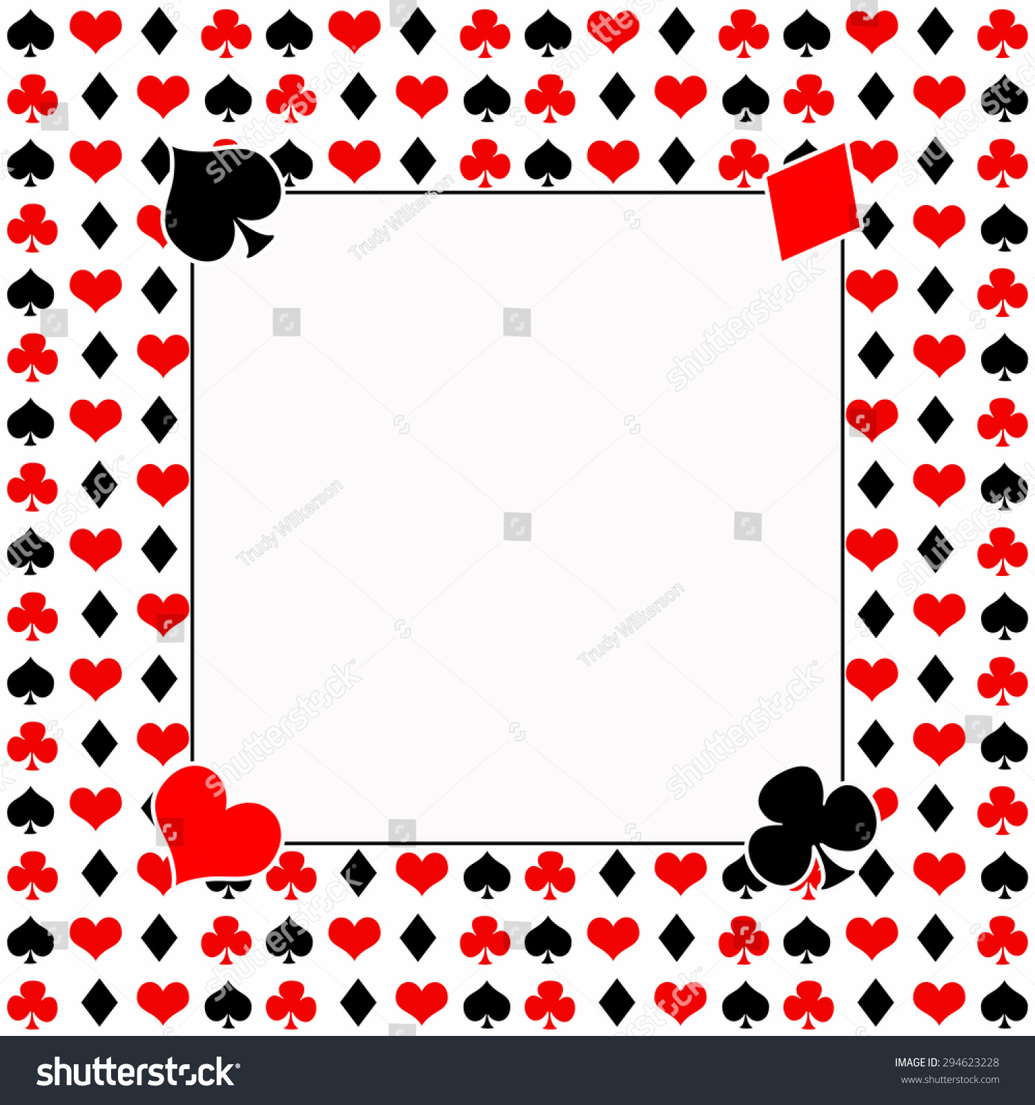 Playing Cards Background Solid White Text Stock
