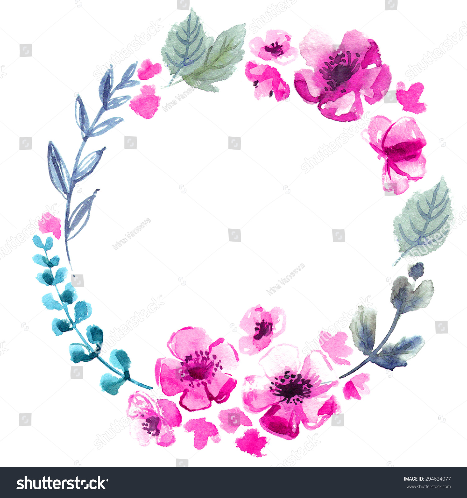The Wreath Of Flowers Watercolor On A White Background Wedding