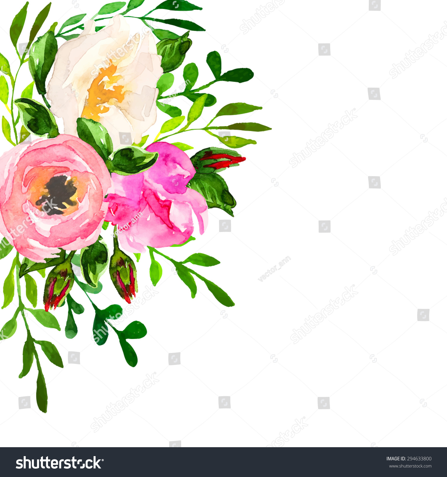 Beautiful Floral Hand Drawn Watercolor Bouquet Stock Vector 294633800