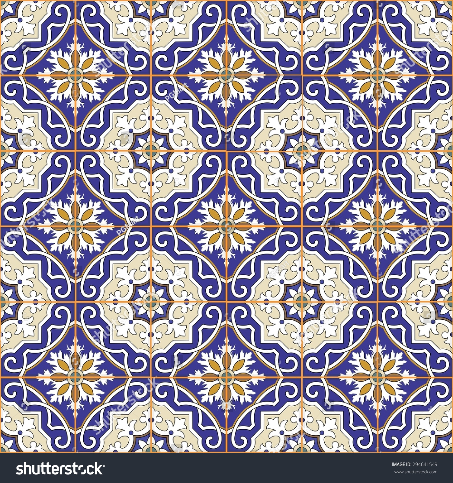 Gorgeous seamless patchwork pattern colorful moroccan for Moroccan style wallpaper