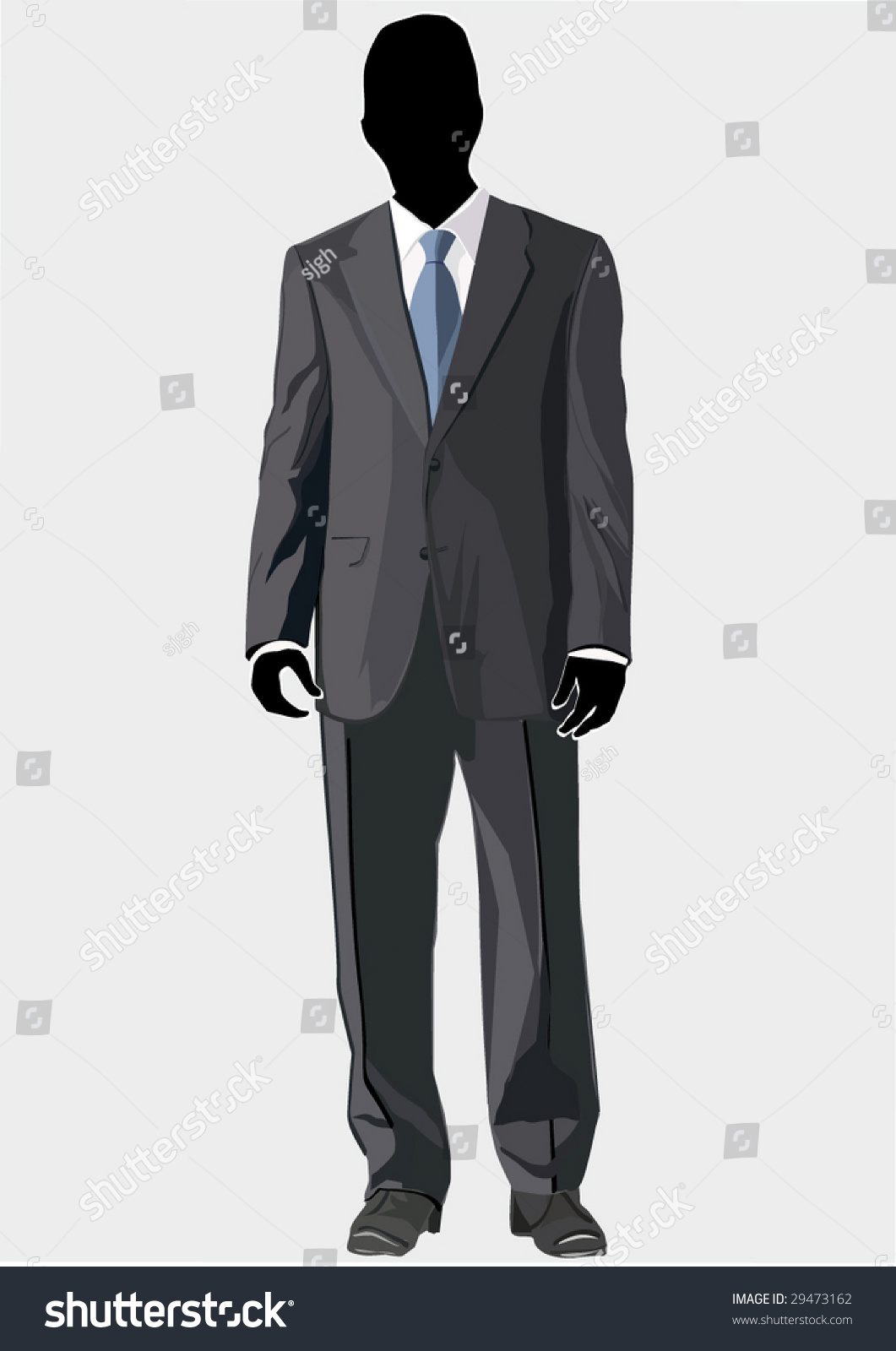 mens business suit template blue tie stock vector 29473162