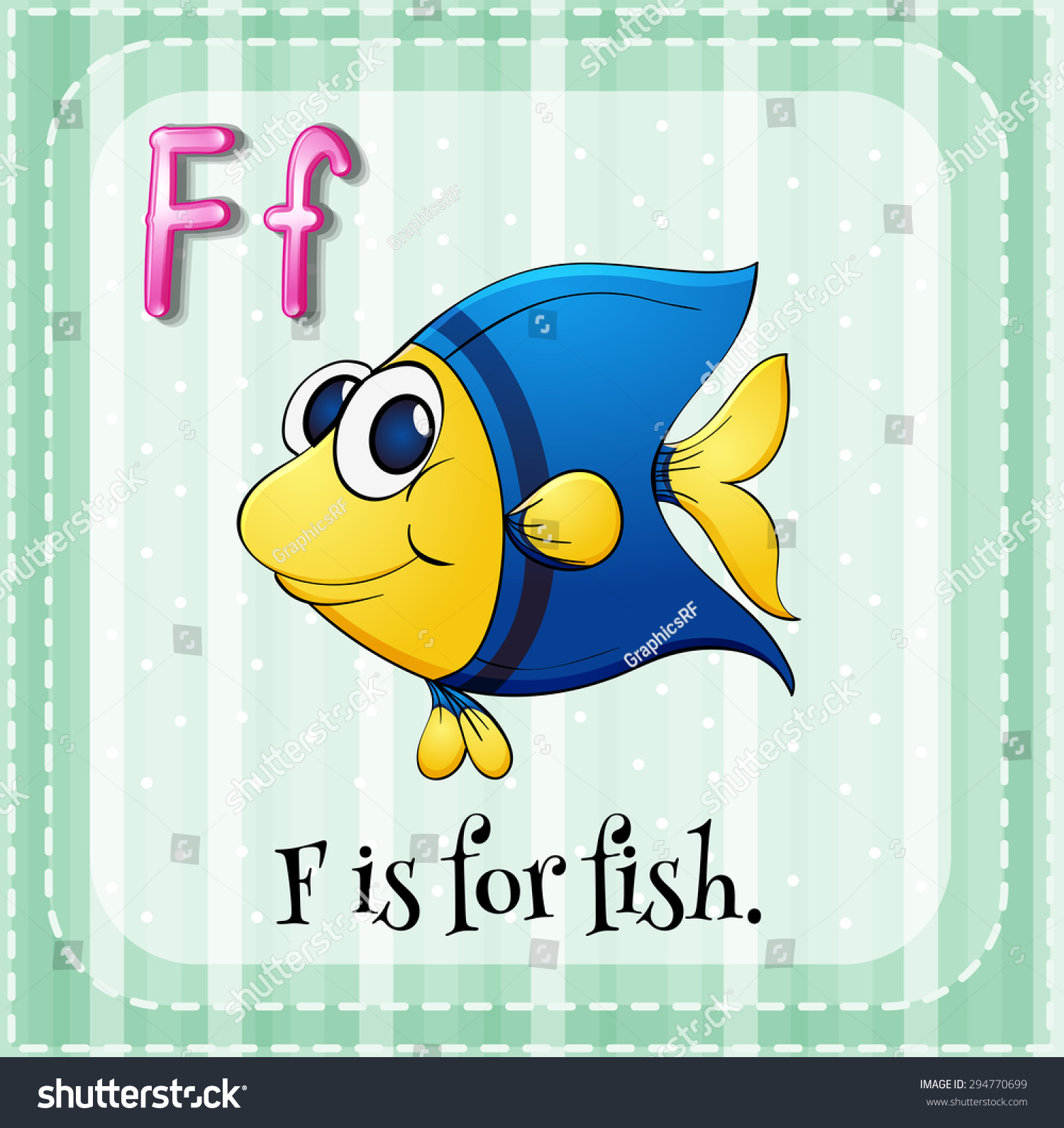 letter f flashcard flashcard letter f fish stock vector 294770699 505
