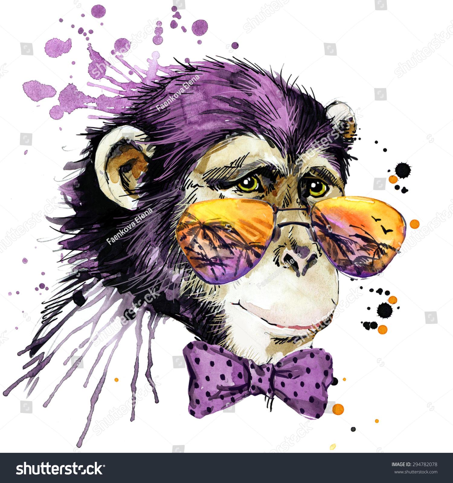 Cool Monkey Chimpanzee Tshirt Graphics Monkey Stock Illustration ...