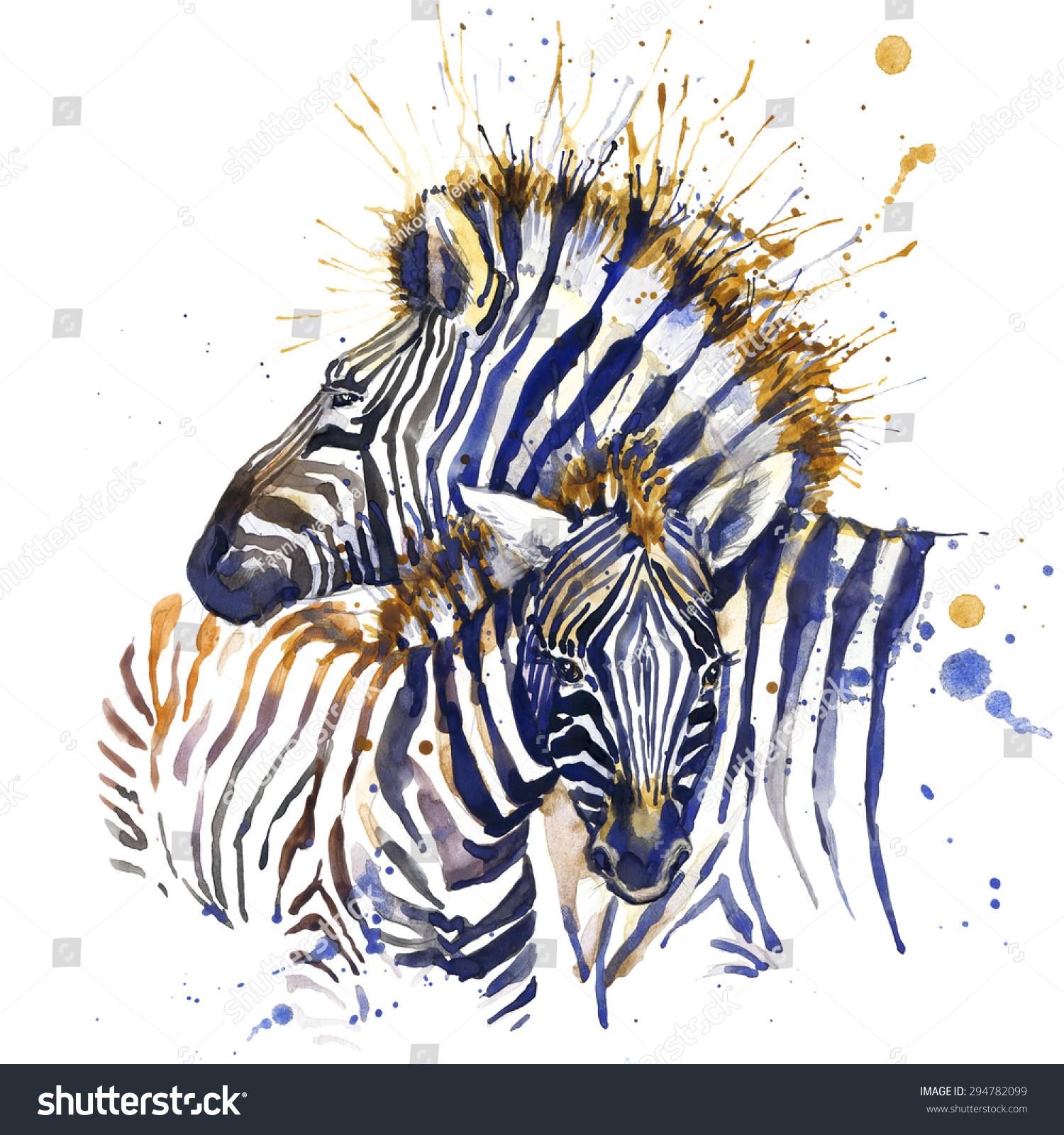 Zebra shirt design - Zebra T Shirt Graphics Zebra Illustration With Splash Watercolor Textured Background Unusual Illustration