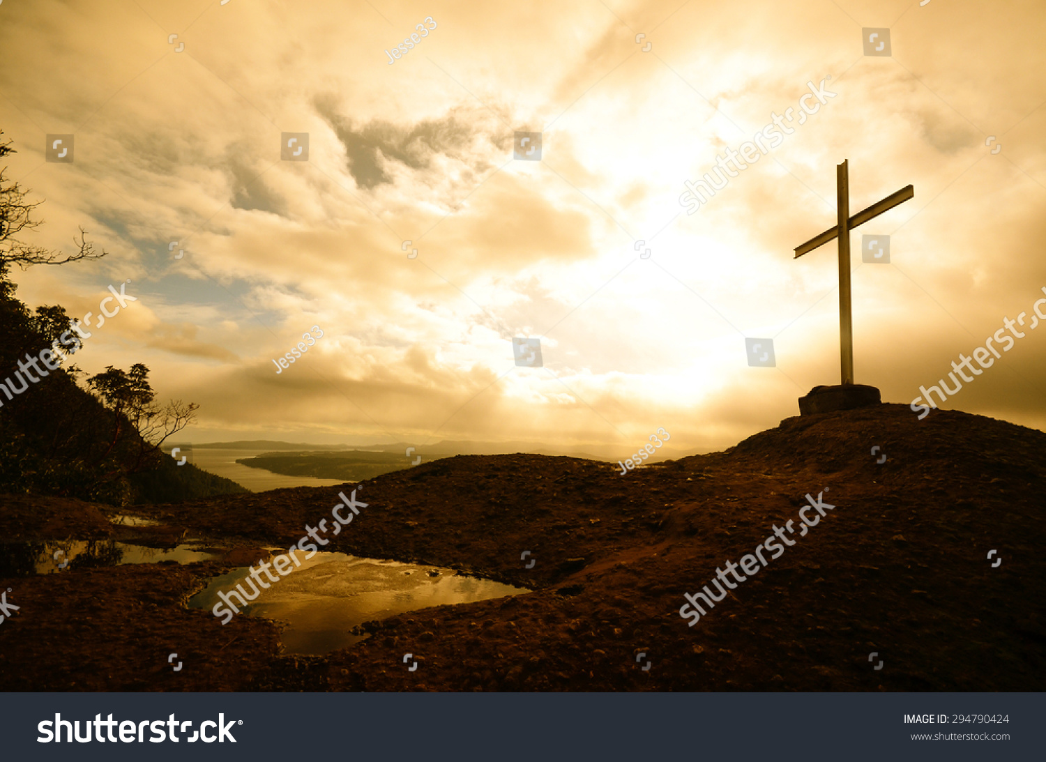 Silhouette of the holy cross on background of storm clouds stock - The Cross Summit On Top Of Mt Tzouhalem On Vancouver Island Canada