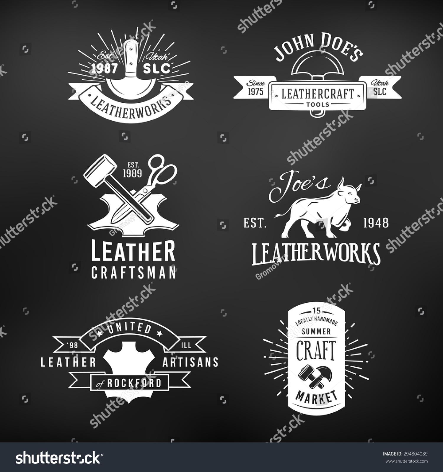 Set Vintage Craft Logo Designs Retro Stock Vector