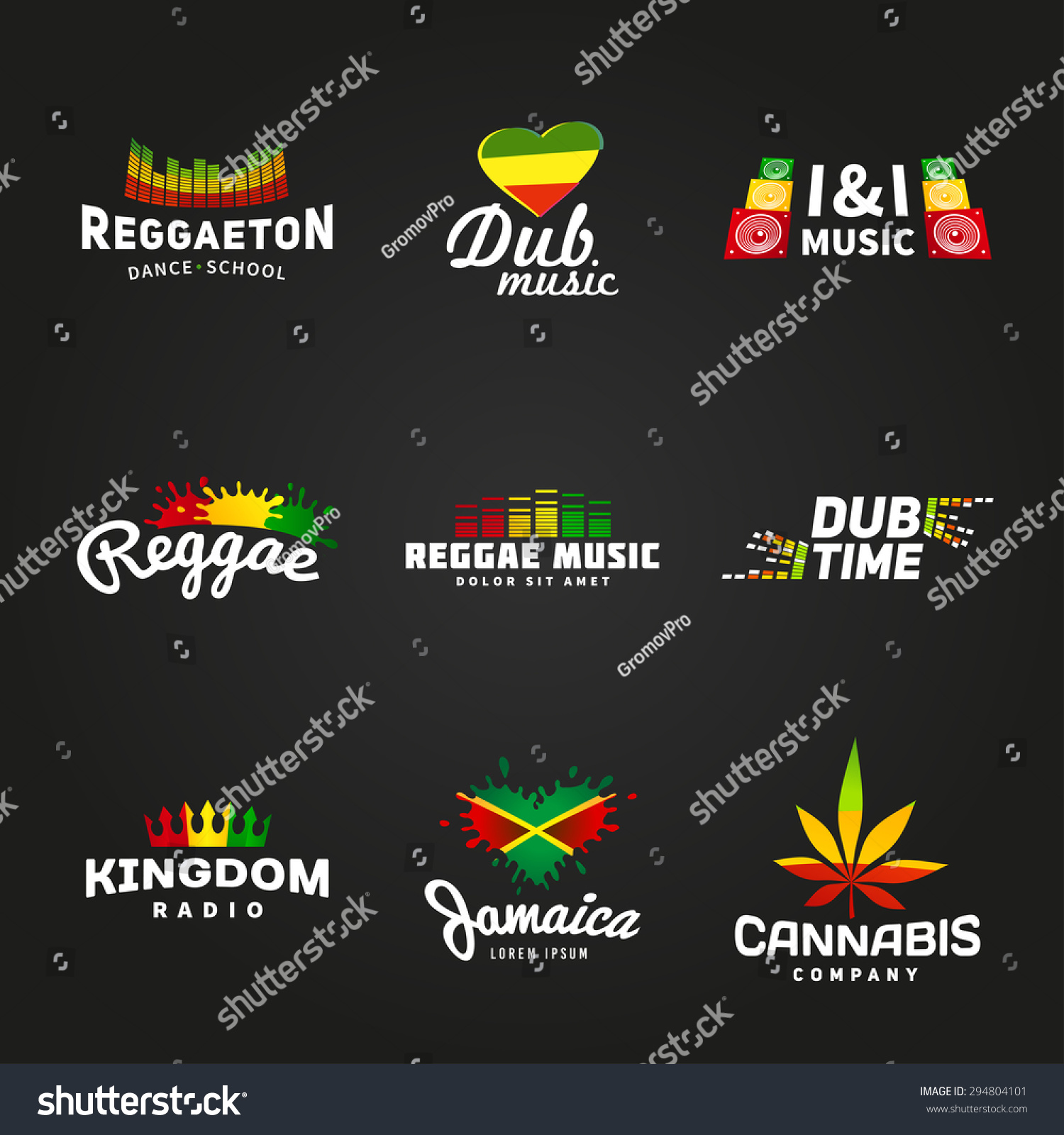set africa flag logo design jamaica stock vector royalty free