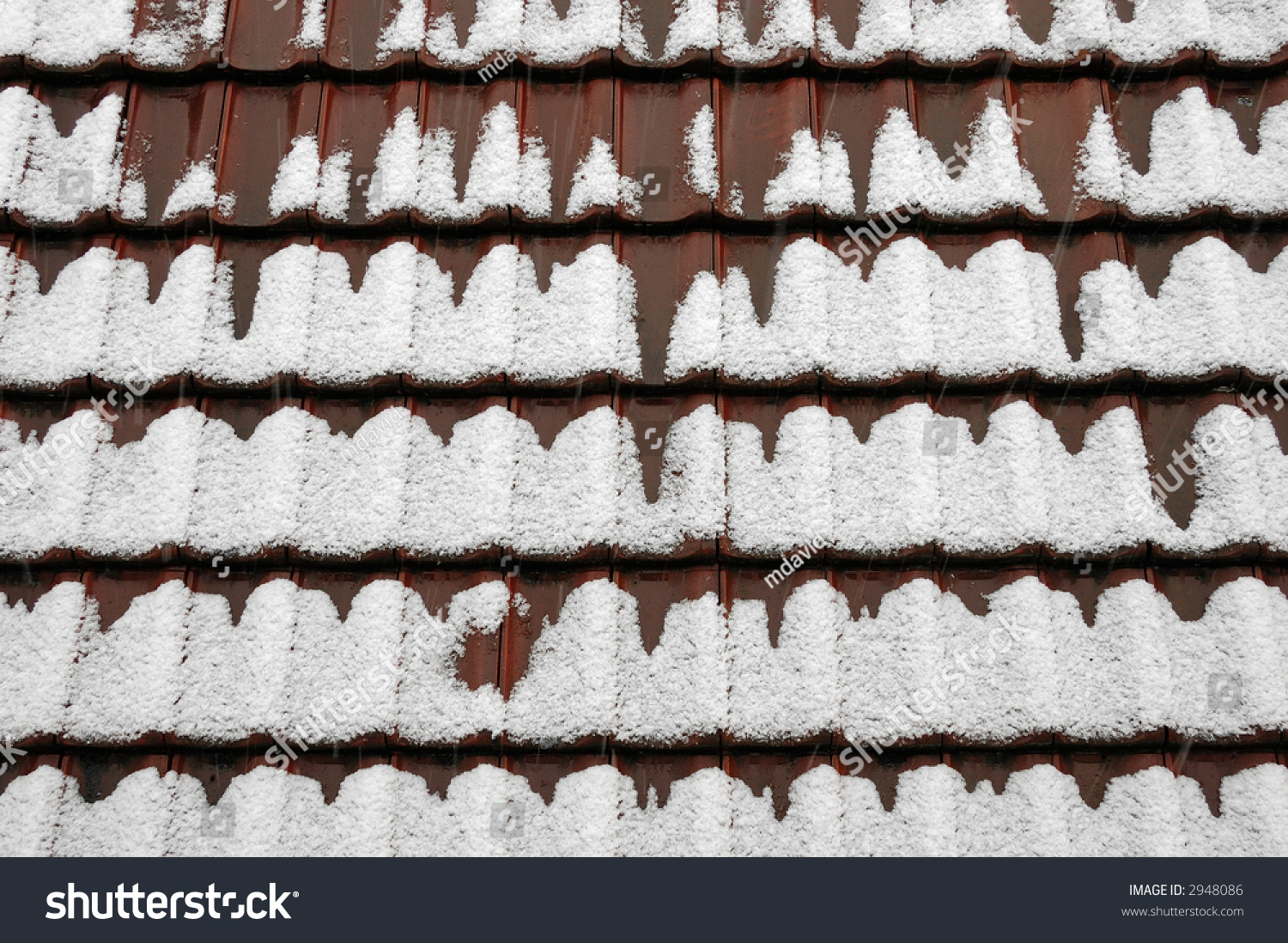 Snow Covered Roof Tiles Stock Photo 2948086 Shutterstock