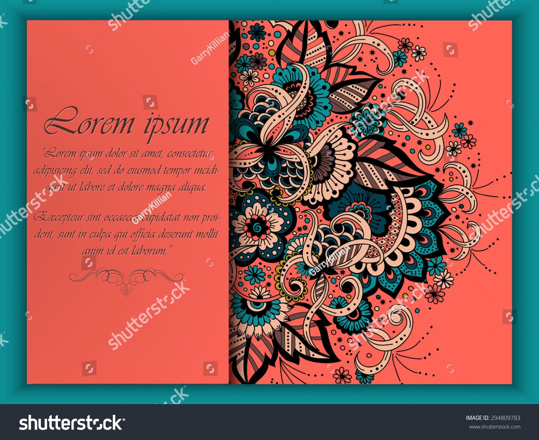 Wedding Invitation Card Vector Abstract Floral Stock Vector (Royalty ...