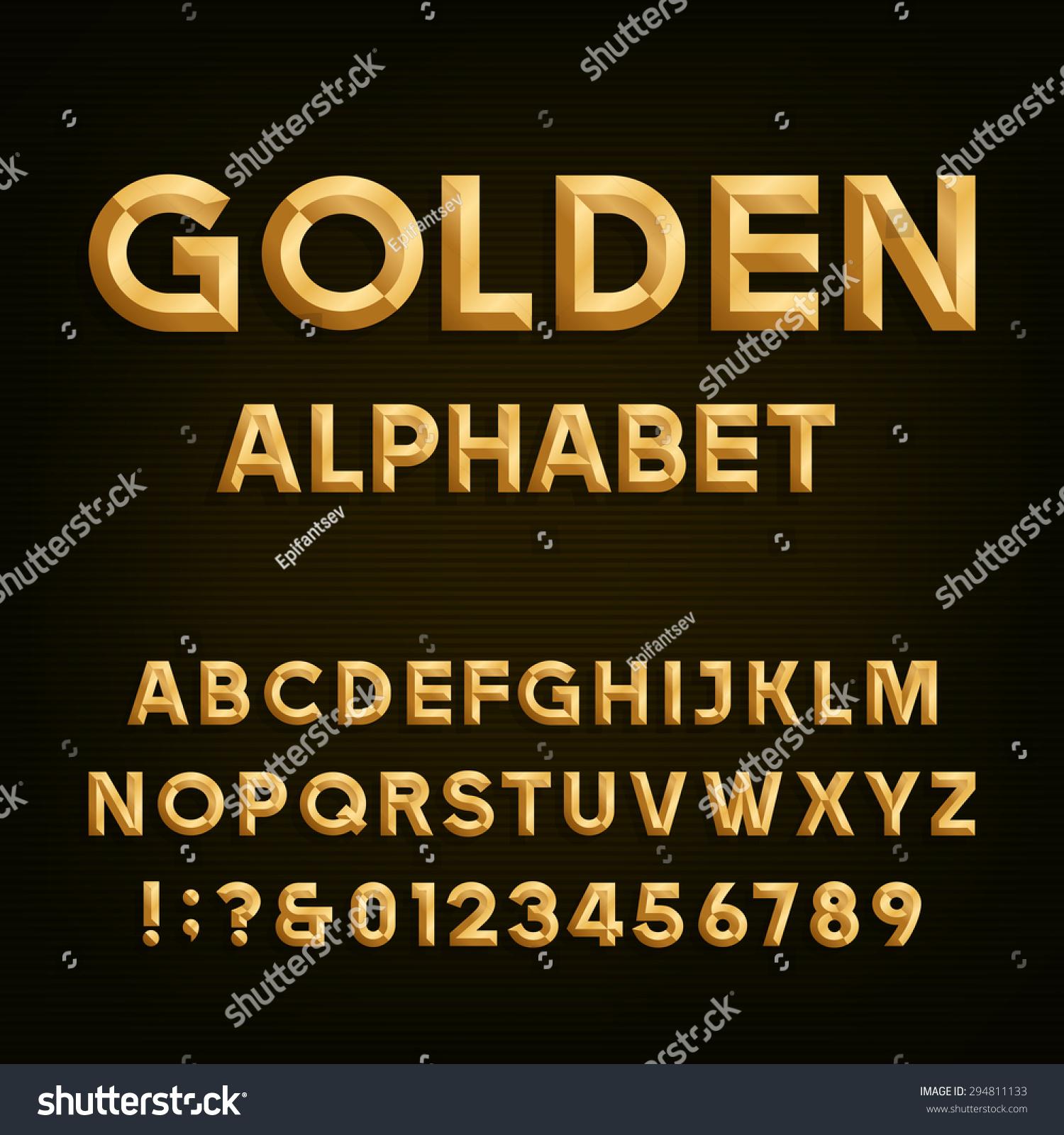 Alphabet Collection In Golden Color:  Golden Beveled Font Vector Alphabet Gold Stock Vector