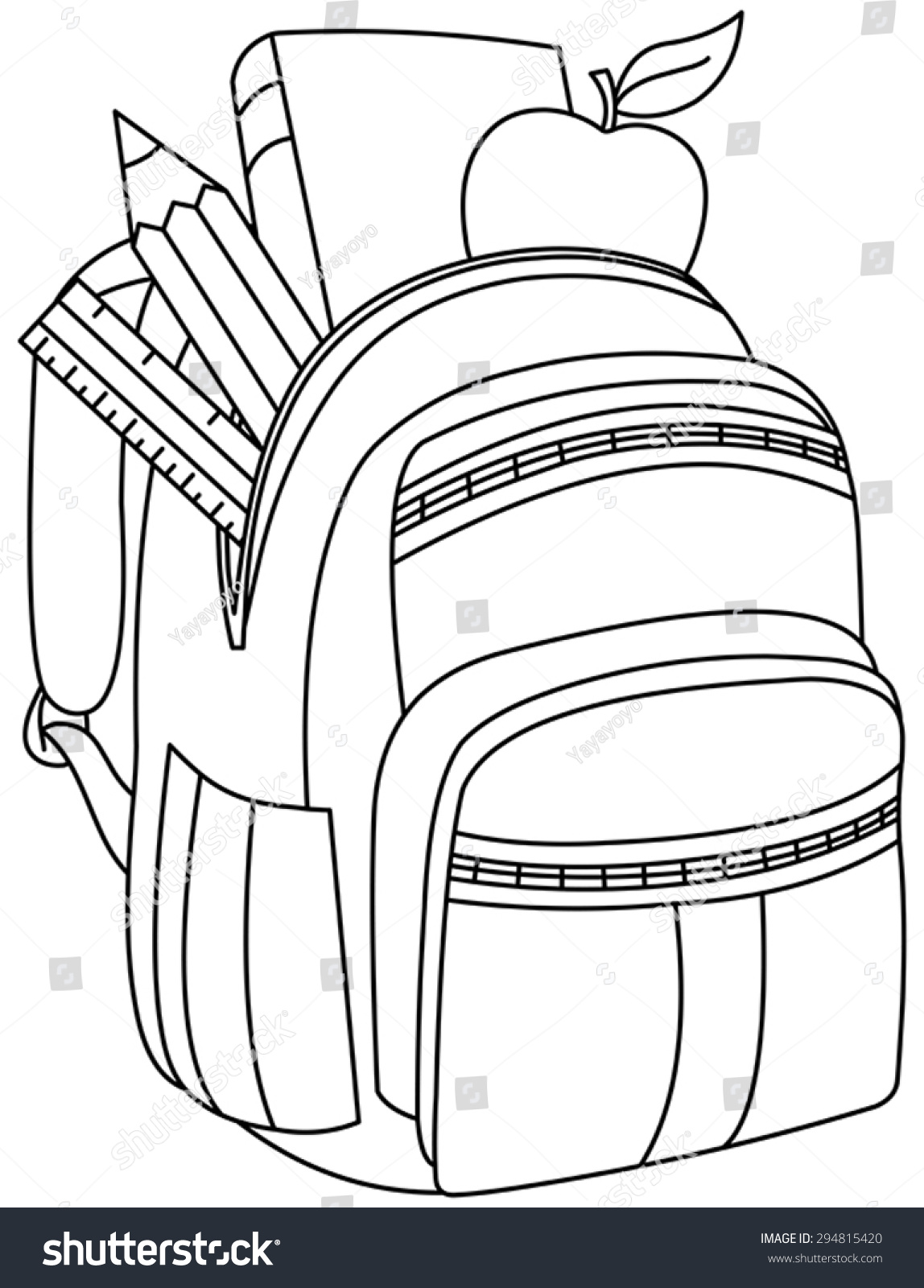Outlined School Backpack Vector Illustration Coloring Stock Vector
