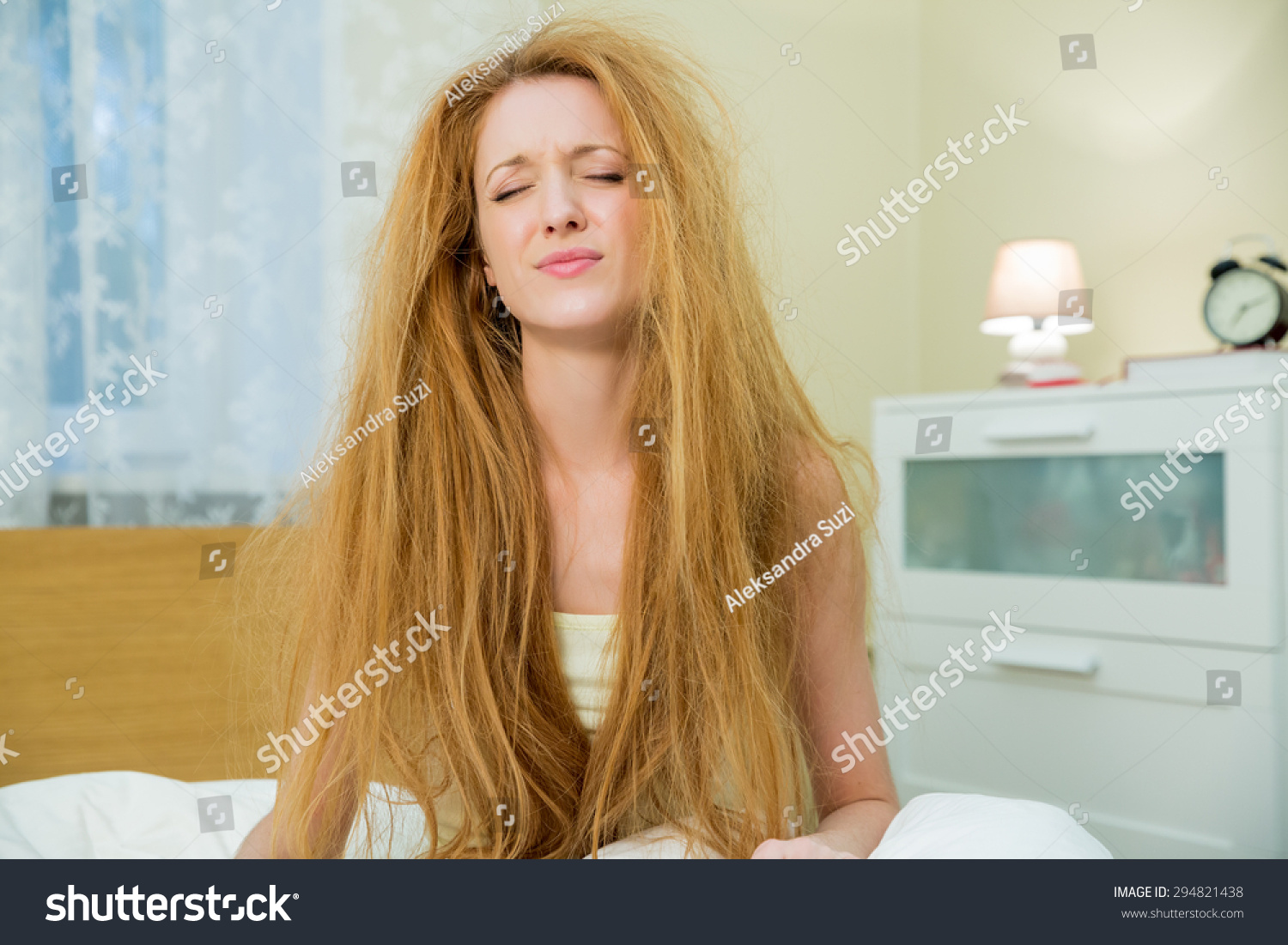 Young Beautiful Woman Messy Hair Stock Photo 294821438