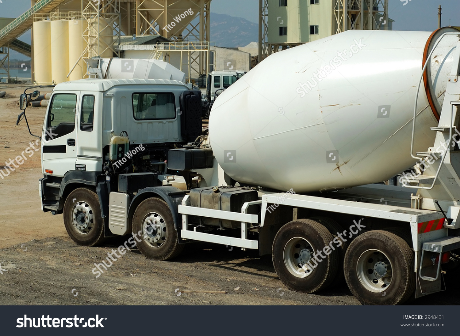 cement mixer trucks in the plant stock photo 2948431. Black Bedroom Furniture Sets. Home Design Ideas