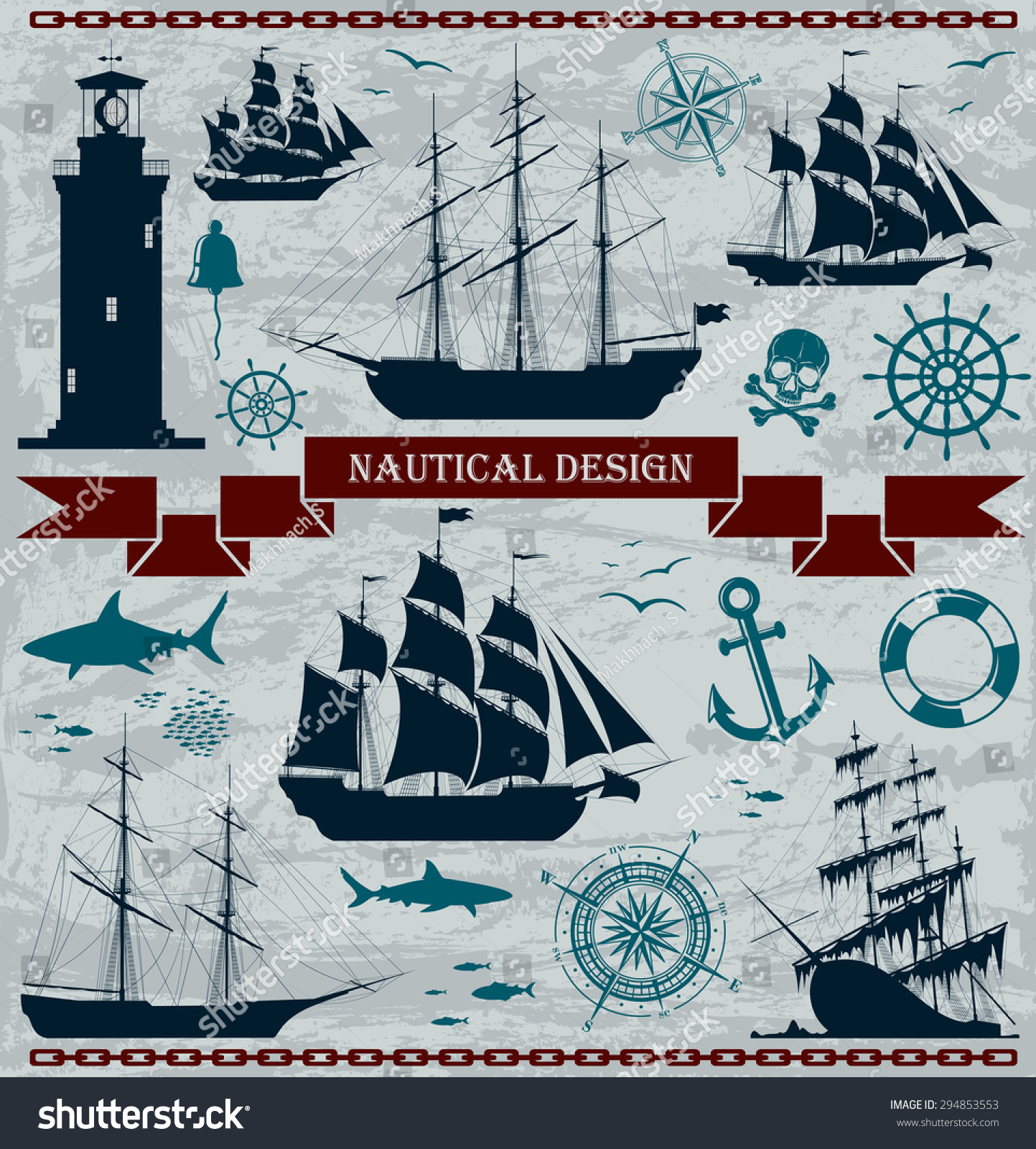 Key Elements Of Nautical Style: Set Of Sailing Ships With Nautical Design Elements. Vector
