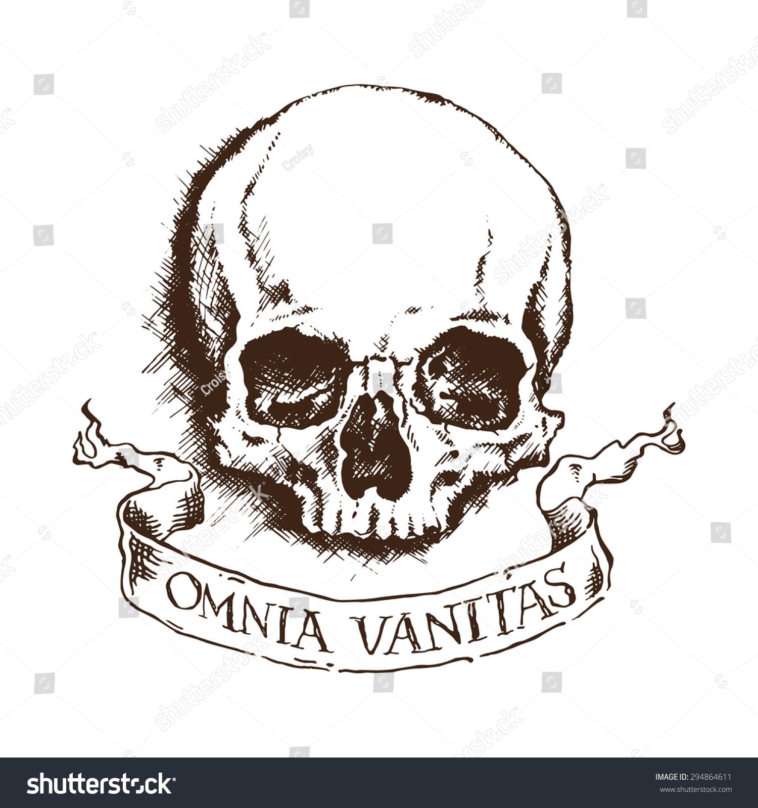 Vector Skull Banner Latin Inscription Meaning Stock Vector Royalty