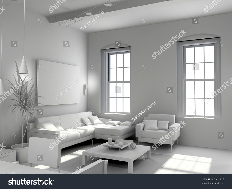 Blank modern interior design computer generated image 3d