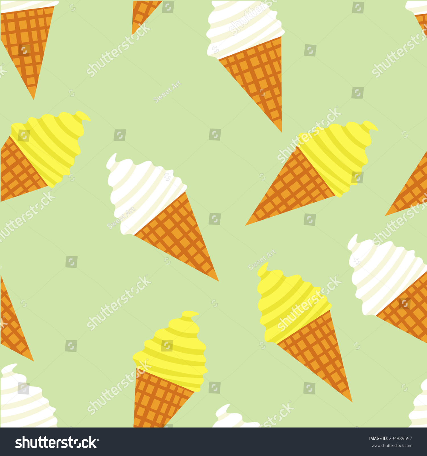 Ice Cream Cones Seamless Pattern Background Stock Vector: Seamless Vector Ice Cream Pattern Desert Stock Vector