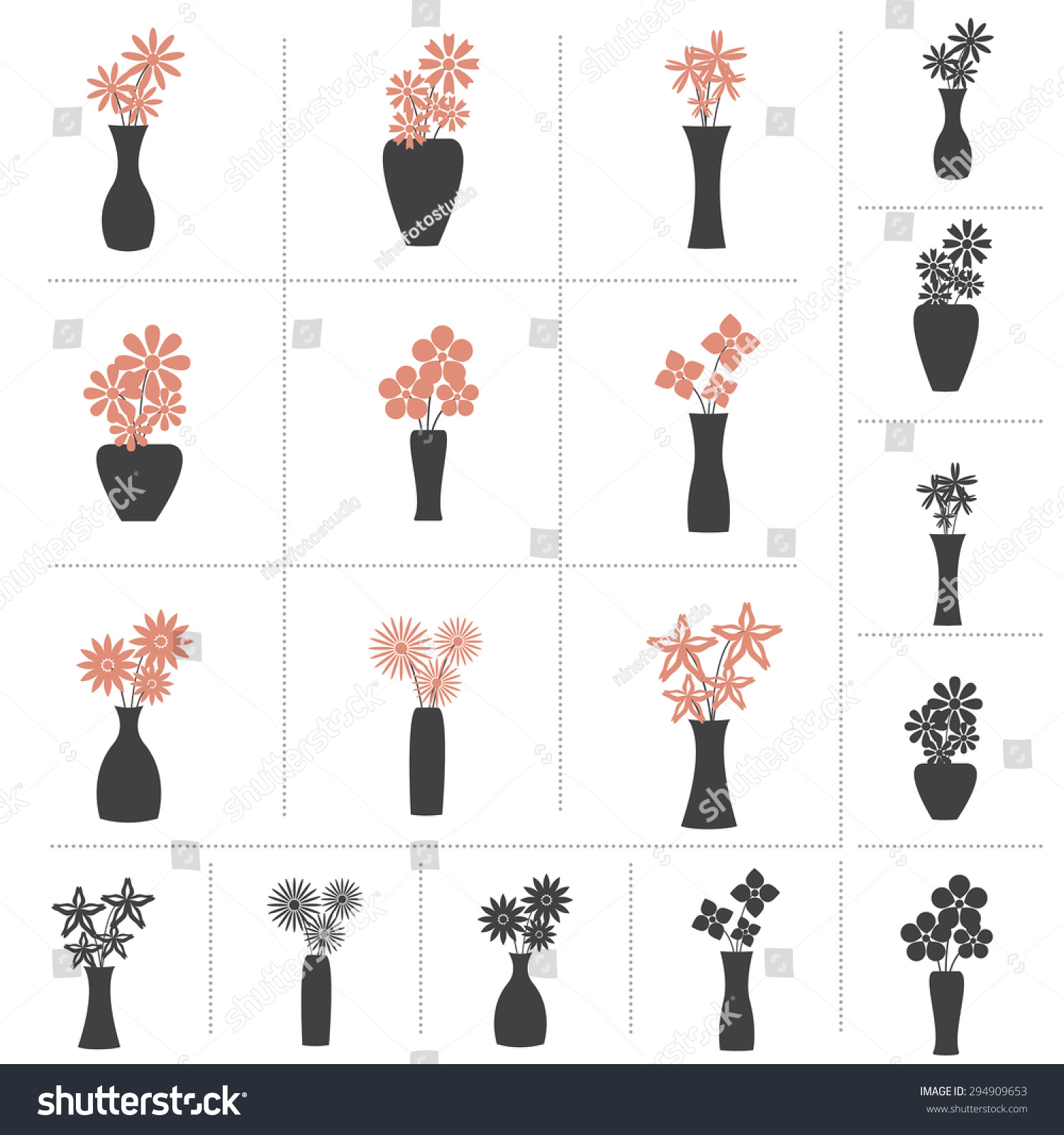 Set Flowers Vase Collection 9 Different Stock Vector Royalty Free 294909653
