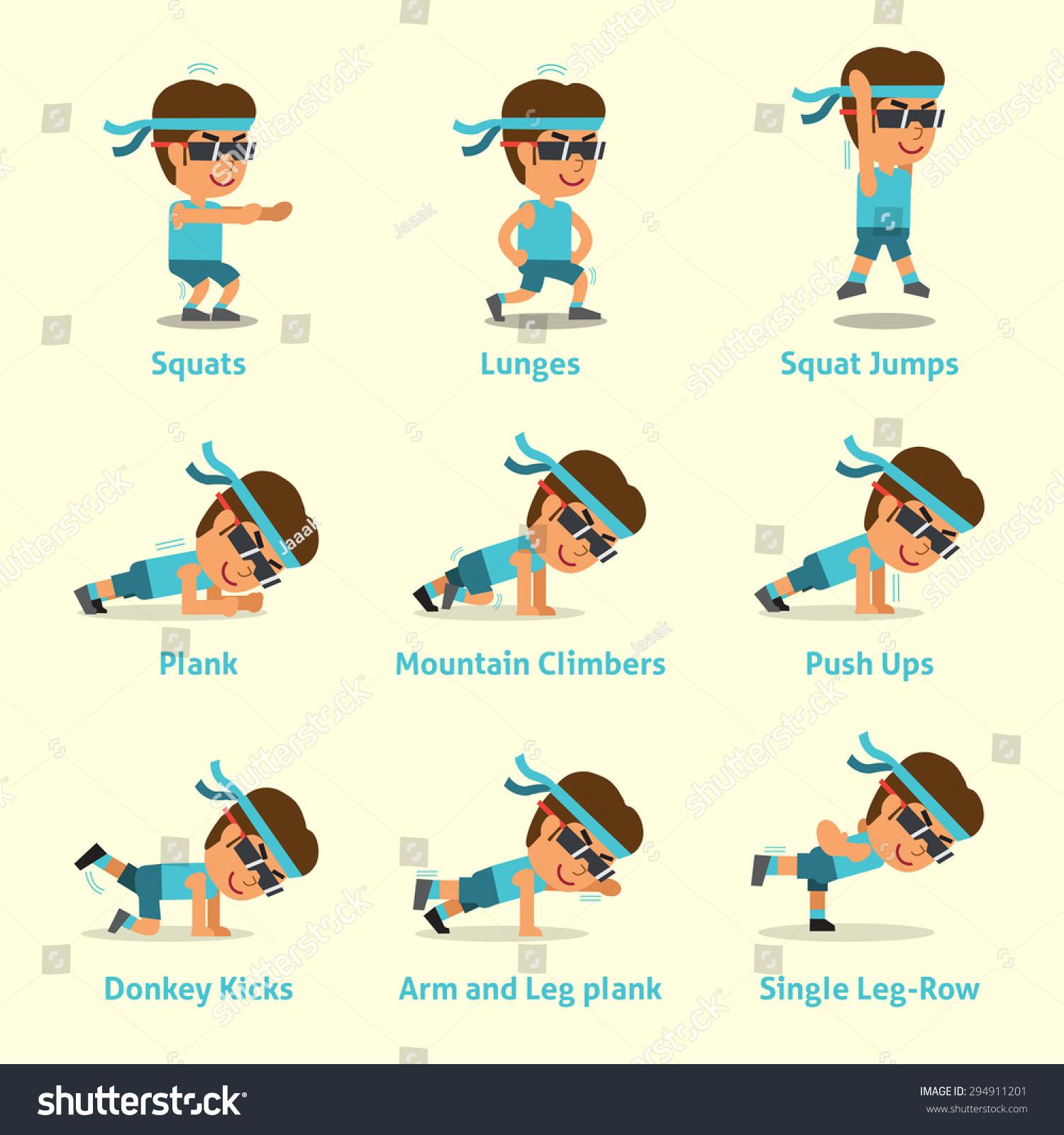 Cartoon Set Man Doing Exercises Health Stock Vector ...
