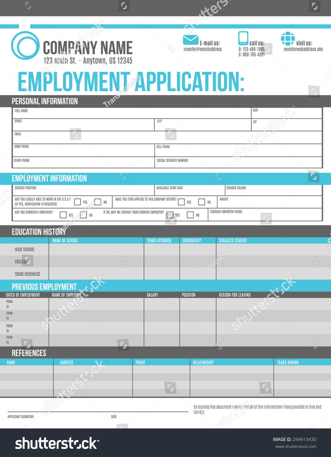 customizable employment job application template design