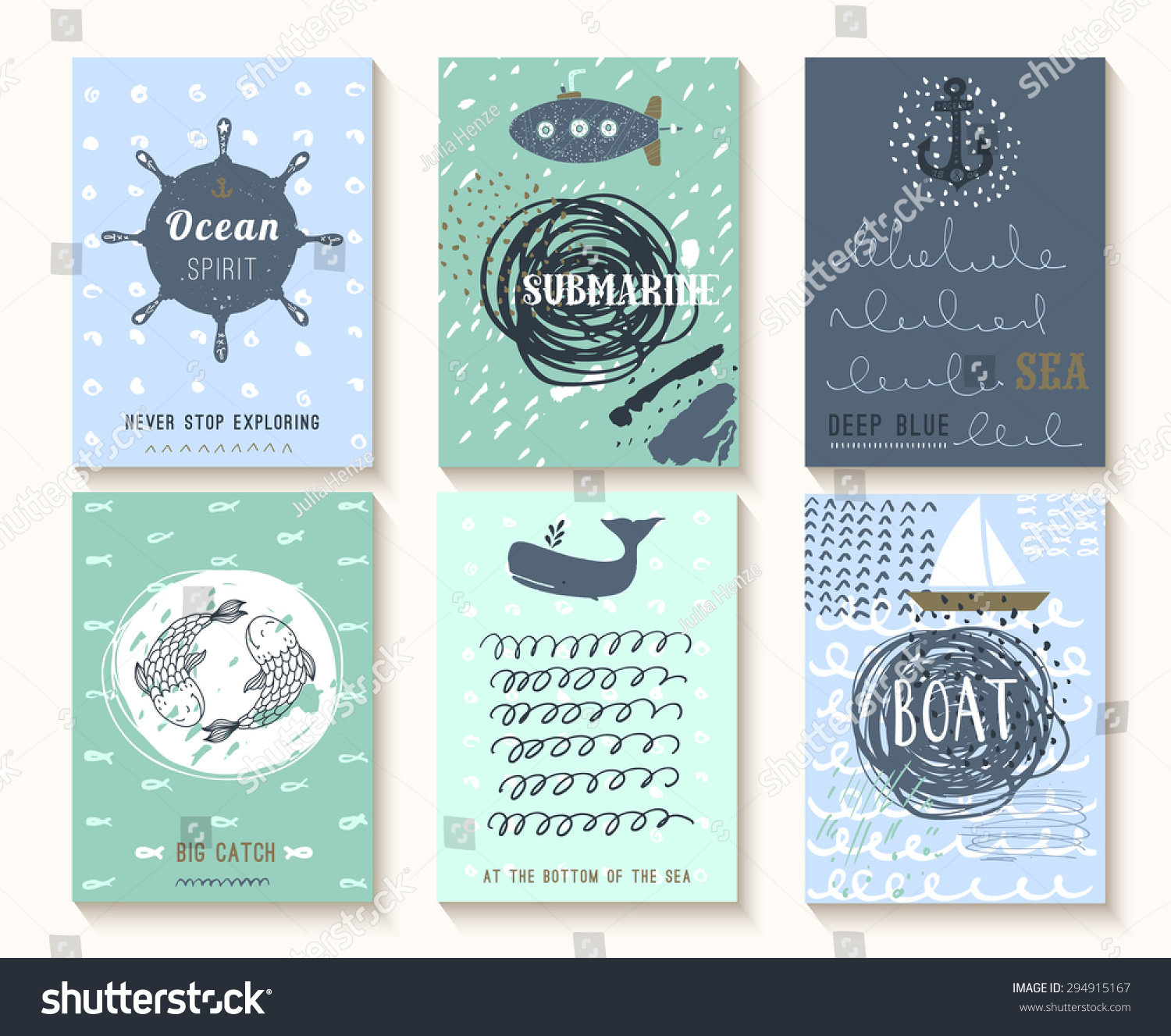 Set Hand Drawn Vintage Nautical Cards Stock Vector 2018 294915167