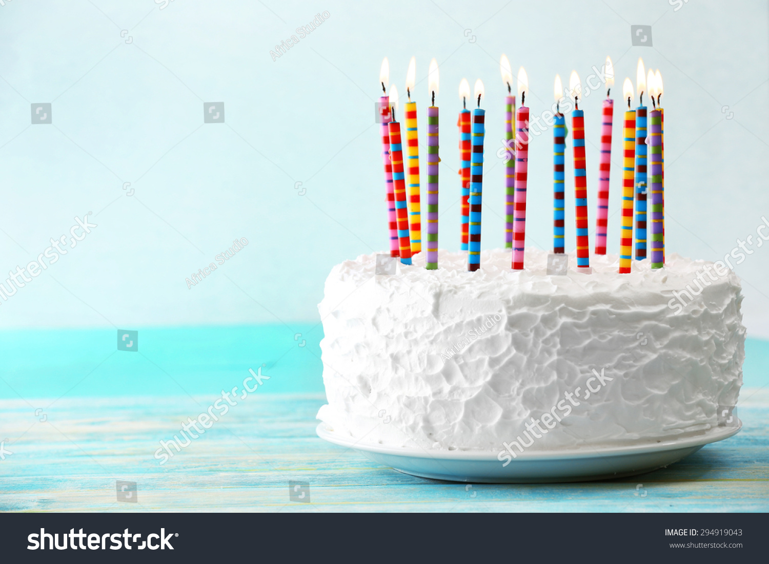 Birthday Cake Candles On Light Background Stock Photo