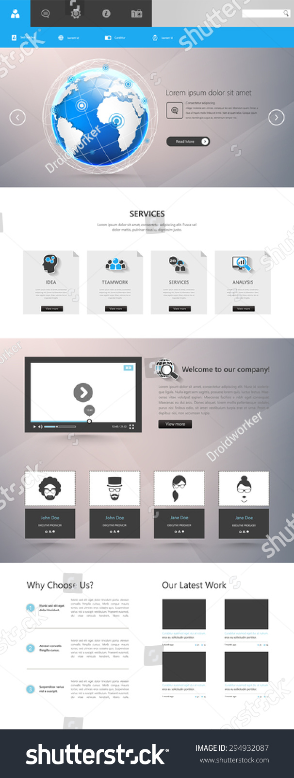 one page website template in flat design | EZ Canvas
