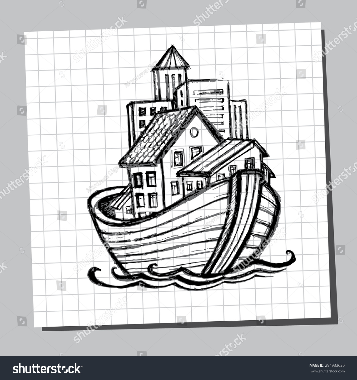noahs ark line drawing picture tourism stock vector  picture for tourism cruises real estate s moving