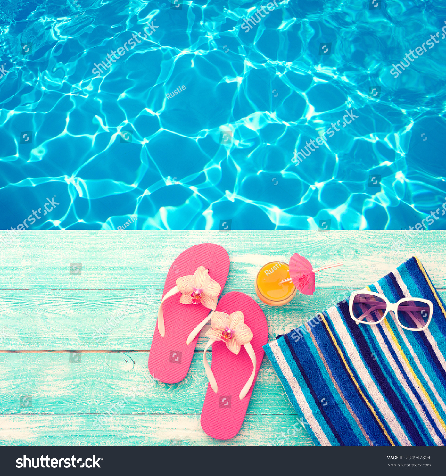 Wood Floor On Beach Sea And Blue Sky For Background Stock: Summer Vacation Pink Sandals By Swimming Stock Photo